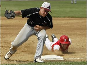 Southgate Anderson's David Plyler doesn't make the tag in time, allowing Bedford's Zach Mayo to make it back to first on a pick-off attempt.