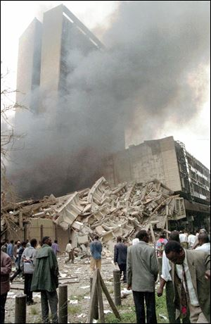 Smoke pours out of the U.S. Embassy in Kenya shortly after the 1998 attack. A nearly simultaneous bombing struck the U.S. Embassy in Tanzania.