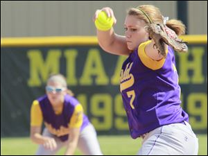Blissfield's Jolene Sauter (7) pitches against Clinton.