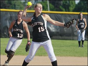 Clinton's Kristen Forest (15) makes a a play against  Blissfield during the fifth inning.