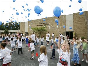 Students and staff at Smith Road Elementary School in Temperance, Mich., release hundreds of balloons during a special good-bye ceremony for the school.