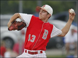 Bedford's Trent Szkutnik pitches in the seventh inning against Sterling Heights Stevenson.