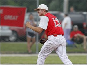 Bedford pitcher Trent Szkutnik celebrates after shutting down Sterling Heights Stevenson in the seventh inning.