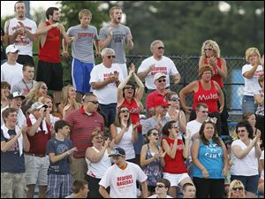Bedford fans cheer after the Mules went up 10-5 over Sterling Heights Stevenson.