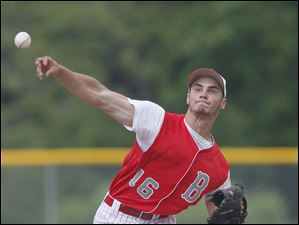 Bedford starting pitcher Dan Przeniczny fires a pitch in the fourth inning against Sterling Heights Stevenson in the Michigan High School Division 1 state baseball semifinals.