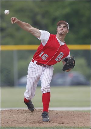Bedford starting pitcher Dan Przeniczny fires one of the 102 pitches he hurled in Friday's win over Sterling Heights Stevenson at Bailey Park in Battle Creek, Mich. Bedford won 10-5.