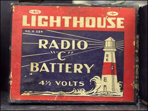 This vintage Lighthouse radio C battery offers 4 1/2 volts.