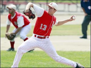 Bedford's Trent Szkutnik (13) pitches against Rockford during  the Division 1 state baseball championship game.