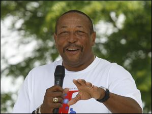 Chuck Ealey, the former Toledo quarterback who lead the Rockets to the longest undefeated record in NCAA Division I college football, and regional director of Investors Group Financial Services in Mississauga Central, Ontario, speaks about fathers after the walk.