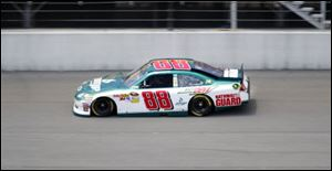 Dale Earnhardt, Jr., drives in practice at Michigan International Speedway. He qualified 15th for Sunday's race at MIS, his best lap clocking at 187.130 mph.