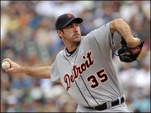 Tigers pitcher Justin Verlander throws in the first inning of a game against the Colorado Rockies. He threw his fourth complete game of the year.