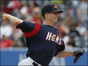 Mud Hens pitcher Thad Weber worked seven innings for the win, giving up two earned runs on seven hits to defeat the Bats for his first win at home.