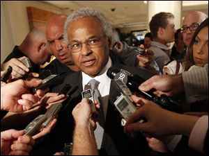 Union chief Billy Hunter speaks to reporters after a meeting with the NBA on Thursday.