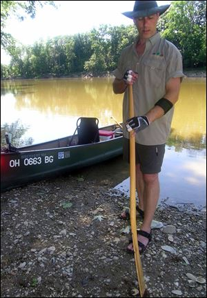 Ergonomic paddles -- lent by Norm Rhem and Jon Kusnier -- have been helpful in making the 130-mile trek down the Maumee River this week.
