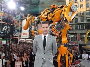 "Shia LaBeouf attends the premiere of ""Transformers: Dark of the Moon"" in New York's Times Square."