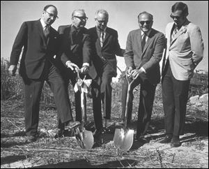 From left, Paul Block, Jr., Gov. James Rhodes, Dr. Glidden L. Brooks, Dean Robert G. Page, and Lurley Archambeau in 1970 at the groundbreaking for the first permanent structure at the Medical College of Ohio — a $9.5 million health sciences building.