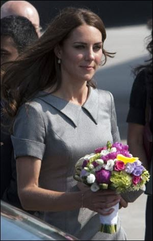 The Duchess of Cambridge arrives at Trudeau airport Saturday in Montreal.