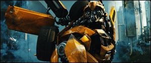"Bumblebee is shown in a scene from ""Transformers: Dark of the Moon."""