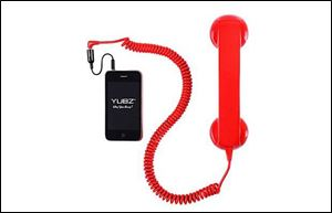 An old-fashioned handset for cell phones originally was created as a gag gift.