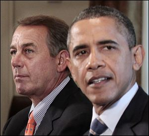 House Speaker John Boehner of Ohio listens at left as President Barack Obama speaks during a meeting Thursday with congressional leadership to discuss the debt.