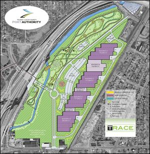 The plan shows Willys Parkway being extended to a roundabout or traffic circle in front of the complex, with another roadway running the length of the site in either direction from the circle to Central and Berdan avenues.