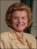 In this1994 file picture, former first lady Betty Ford talks with reporters at the Old Executive Building in Washington D.C. On Friday a family friend said that Ford had died at the age of 93.