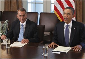 House Speaker John Boehner and President Obama meet in the White House to discuss the U.S. debt ceiling.