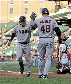 "Cleveland Indians' Asdrubal Cabrera, left, high-fives teammate Travis Hafner after hitting a solo home run during the first inning of a baseball game against the Baltimore Orioles, Thursday, July 14, 2011, in Baltimore. (AP Photo/Gail Burton)  S6 15s6asdrubal 2.93""x3.05"" color"