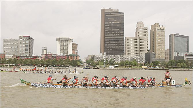 Dragon boat races Boats race during the Great Maumee River Dragon Boat Festival near International Park in Toledo last year.