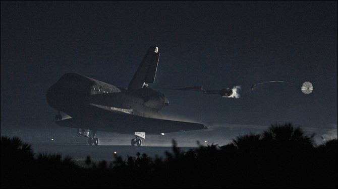 Space Shuttle lands Cape Canaveral Space shuttle Atlantis lands Thursday at the Kennedy Space Center in Cape Canaveral, Fla..