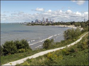 Downtown Cleveland seen from Cleveland Lakefront State Park.