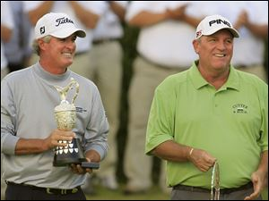 Mark Calcavecchia, right, was the runner up in the British Open. Russ Cochran, left, won the tournament.