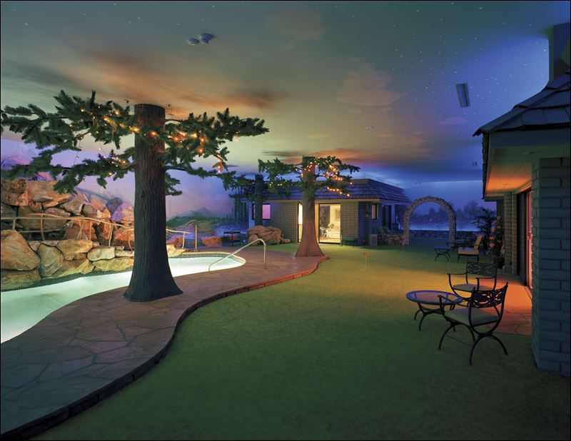 Jay Swayze-designed Las Vegas bomb shelter featured a backyard with ...