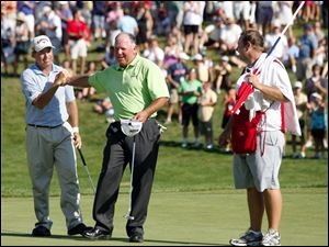 Olin Browne, left, is congratulated by Mark O'Meara after winning the 2011 U.S. Senior Open.