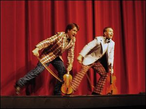 K.C. Kenney, left, as Cosmo Brown adn Joe Dennehy as Don Lockwood in the Croswell production of 'Singin' in the Rain.'