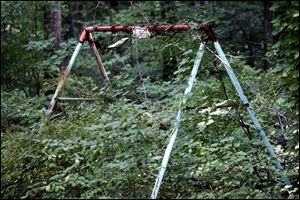 A swing set overgrown by weeds remains in the backyard of her family's home.
