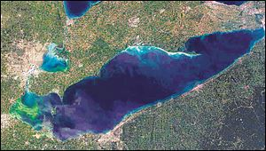 This satellite photo shows an algae bloom, in green coloration at left, that continues to grow eastward over a section of Lake Erie.