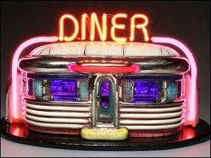 Owens Community College's Walter E. Terhune Art Gallery 'Diners' exhibit includes Jerry Berta's 'Neon Diner' ceramic and neon sculpture.