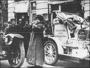 1910: Blanche Scott, known as 'Lady Overland,' was hired by Willys-Overland to drive a car all around the country.