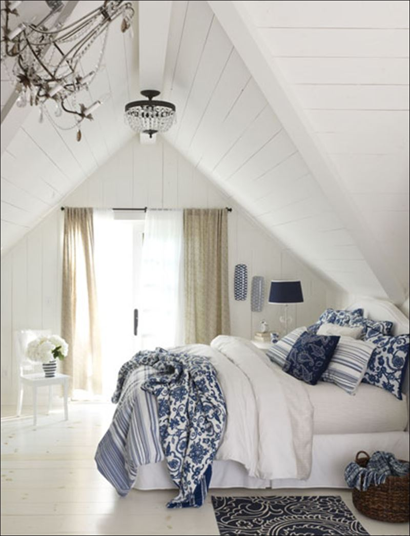 blue and white colors and patterns to a living room bath or bedroom