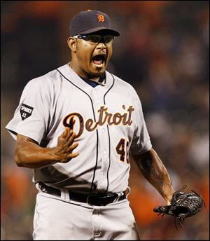 Jose Valverde reacts as he earns his 35th save for the Tigers in Detroit's win over the Orioles Saturday night.