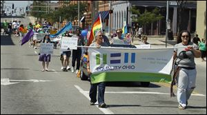 Equality Ohio was one of the many organizations that marched in Toledo's Gay Pride Parade. It started at the intersection of South St. Clair and Washington streets and ended at Promenade Park.