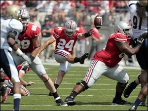 Ohio State kicker Drew Basil (24) misses a field goal against Akron during the second quarter.
