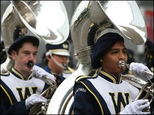 The Whitmer High School marching band provided some music for the parade as they marched through downtown Toledo.