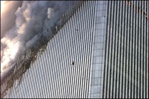A person falls from the north tower of the World Trade Center in New York, in this Sept. 11, 2001. file photo.