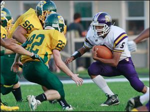 Waite H.S. #5, Anjel Lerma and Clay H.S. #56, Seth Huffman, and  #22, Jay Smith. Waite's victory was its first win this season.