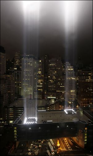 A test of the Tribute in Light rises above lower Manhattan. The memorial, sponsored by the Municipal Art Society, will light the sky on the evening of Sept. 11, 2011, in honor of those who died ten years before in the terror attacks on the United States.