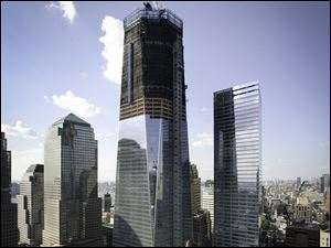 Construction continues on 1 WTC and 7 WTC, World Financial Center buildings, at Ground Zero in New York City.