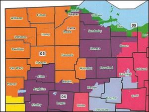 Proposal of congressional redistricting for northwest Ohio. Orange = Bob Latta; Green = Marcy Kaptur; Purple = Jim Jordan.
