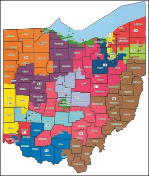 This map shows the proposed redistricting for Ohio's congressional districts. Orange = Bob Latta; Green = Marcy Kaptur; Purple = Jim Jordan.